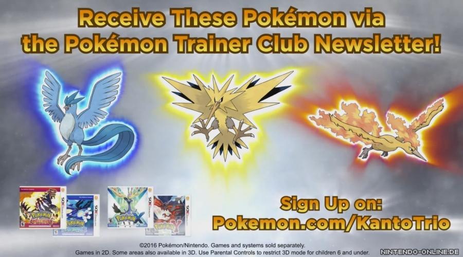 Sichert euch Arktos, Lavados und Zapdos über den Pokémon Trainer